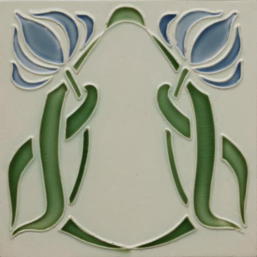 c.1905 German Art Nouveau Floral Tile, DT AG