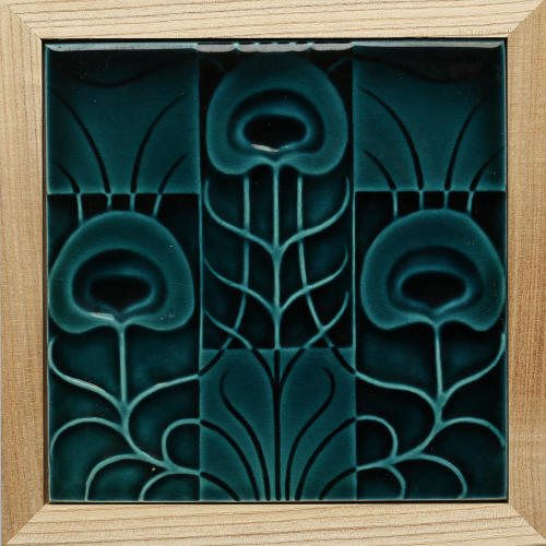 c.1905 English Art Nouveau Floral tile, Pilkington, Framed