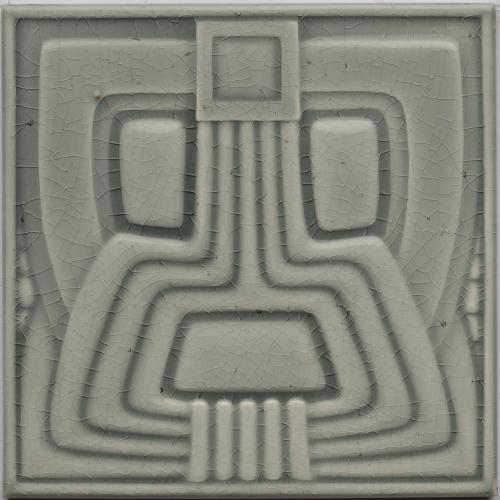 c.1910 Wessel Art Deco Stylised Aztec Tile, Framed