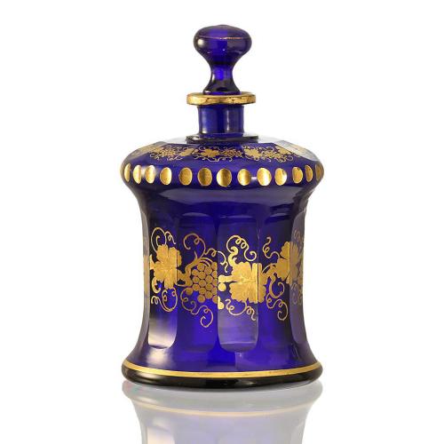 c.1840 Cobalt Blue Gilded Glass Scent Perfume Bottle, Buquoysche Glashütte