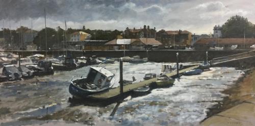 Ryde Harbour, low tide, winter sun