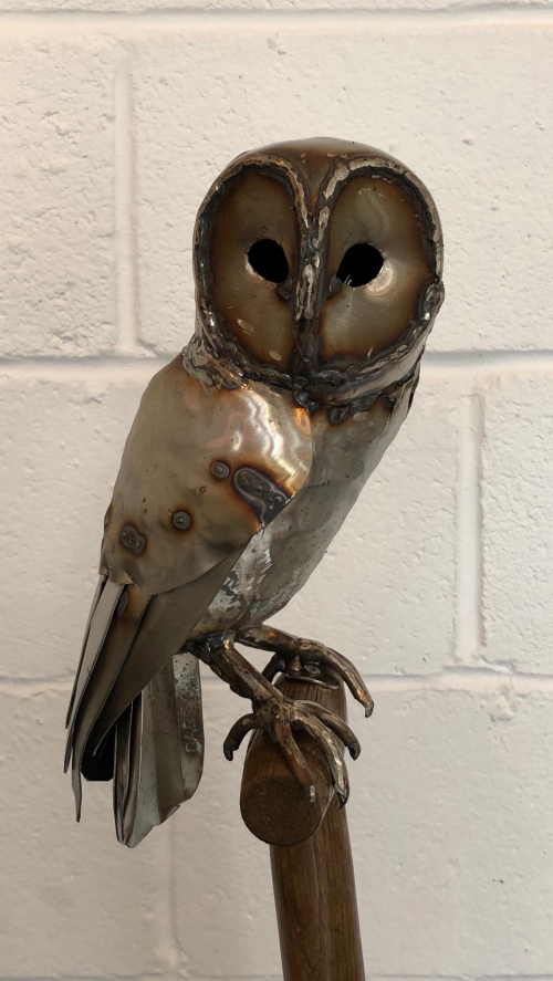 Tawny Owl on a Antique Fork