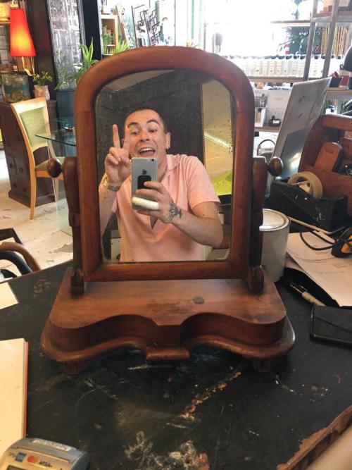 Stained Oak Period Dresser Mirror