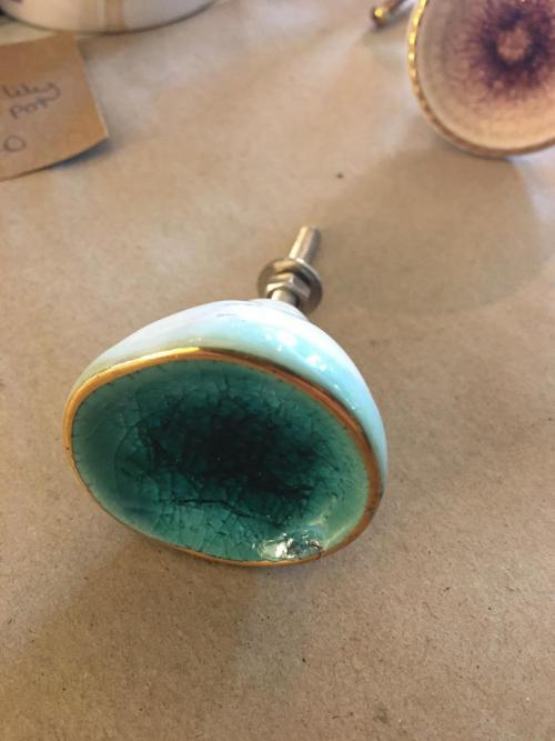 ceramic concave turquoise knob