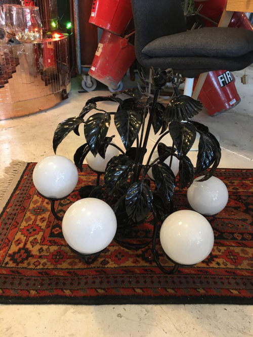 White Orb - Black Floral  Ceiling Light