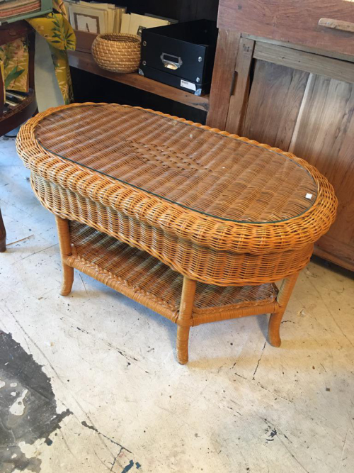 Oval Wicker Coffee Table with Glass
