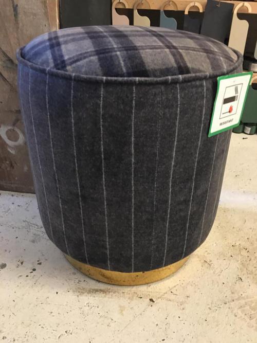 Gold Based Check/Stripe Farmhouse Footstool