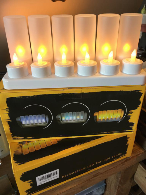 12 x Rechargeable Tea Lights With Charging Base