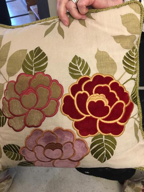 burgundy / lime cushions