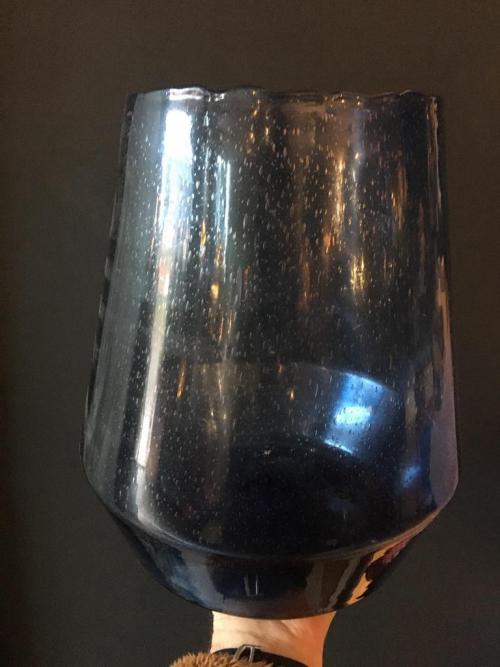 Large Blue Glass Vase/Candle Holder