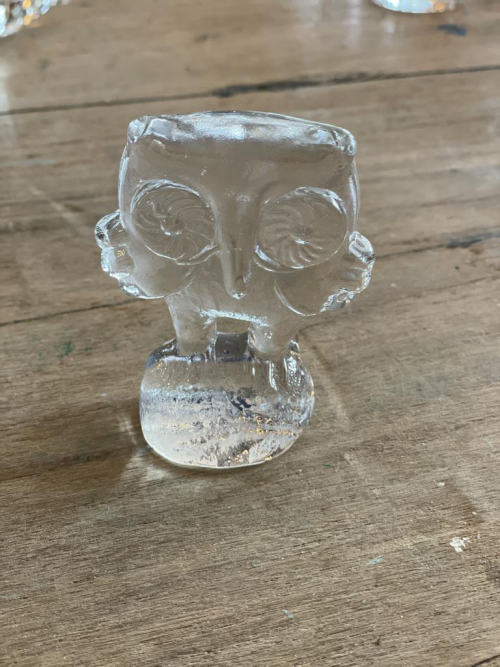 Glass Owl Standing Paperweight