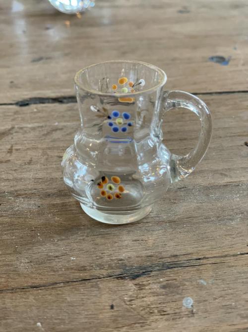 Painted Tiny Glass Jug