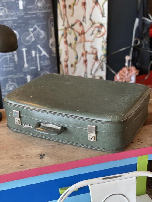 Dark Green  Vintage Suitcase