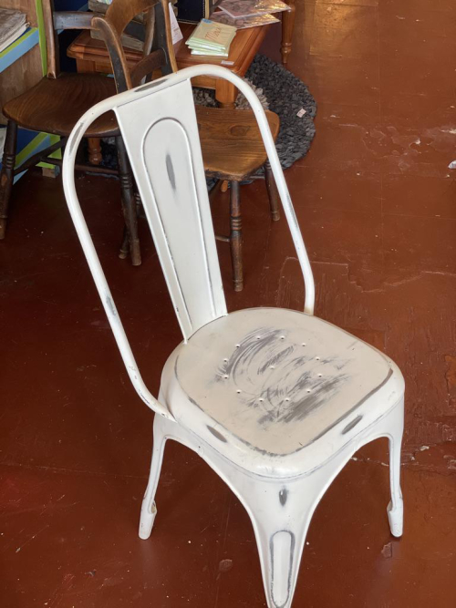 Scuffed White  Metal Tall Back Chair