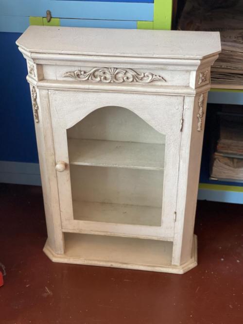 White Crackled Glaze Hanging Cabinet
