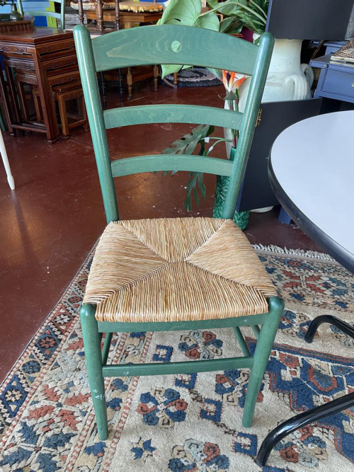 Set of 4 Green Rush Seat Dining Chairs