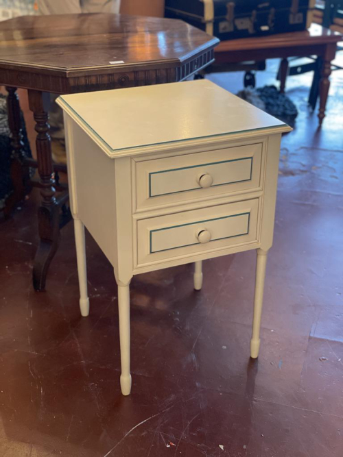 White and Green Bedside Table  Pair Only