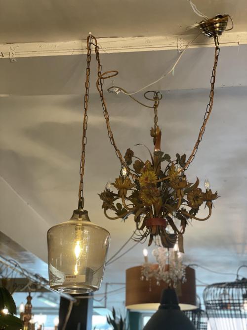 Smoked Glass Pendant w/Chain