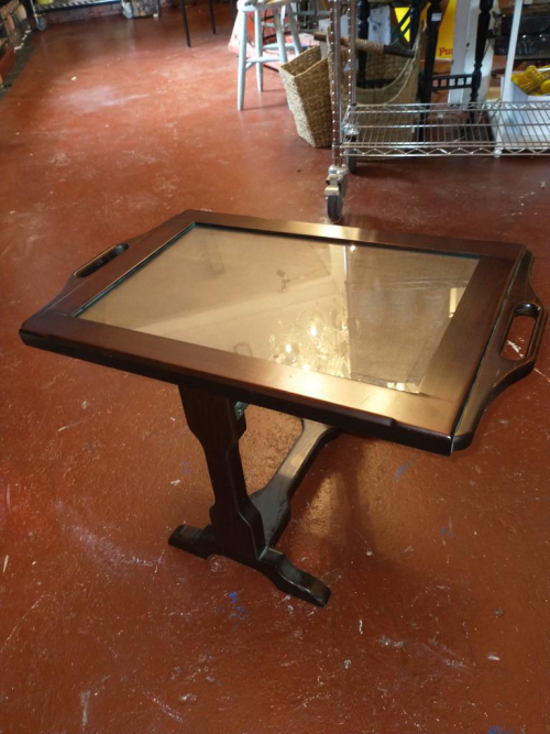 Dark Wood Puzzle Tray Latched Top
