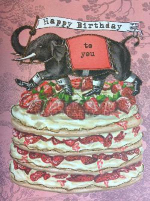 A5 Happy Birthday Elephant Cake Girl CARD18