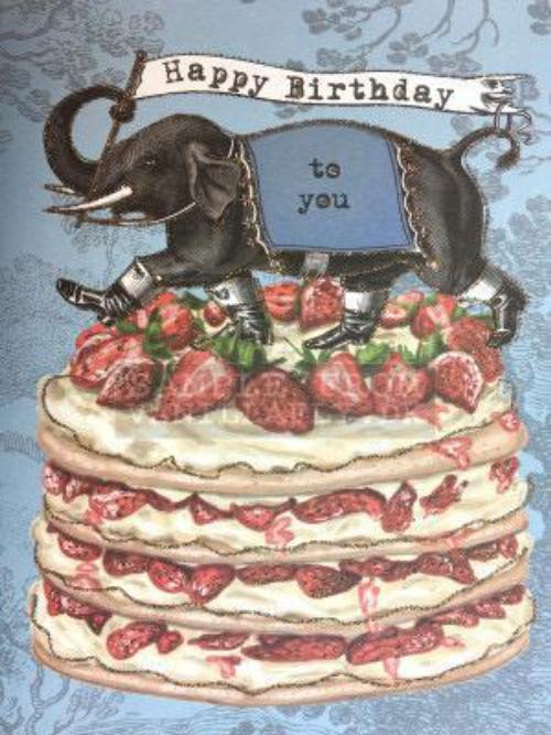 Happy Birthday Elephant Cake Boy CARD19
