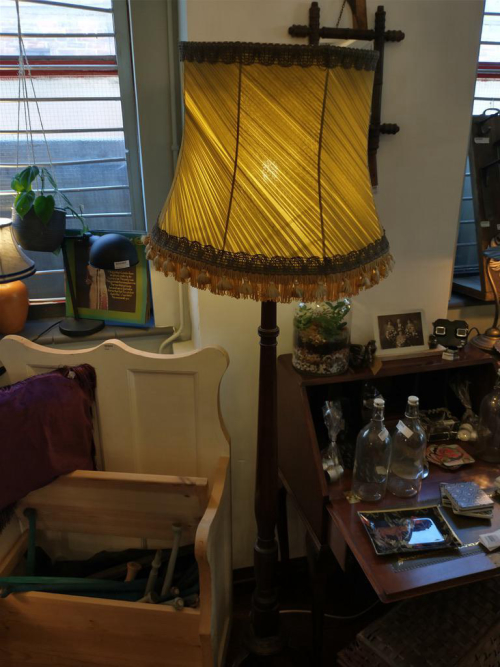 Wooden Standard Lamp with Green/Gold Shade
