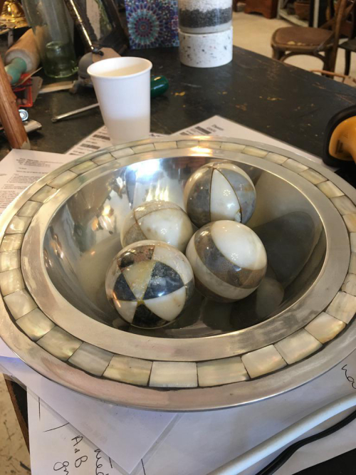 Silver Bowl & Decorative Balls