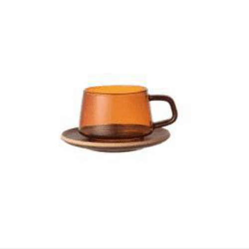 Kinto Sepia Amber Cup 270ml and Saucer