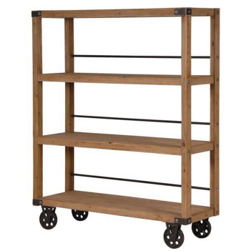 Reclaimed Oak Rolling Shelving Unit