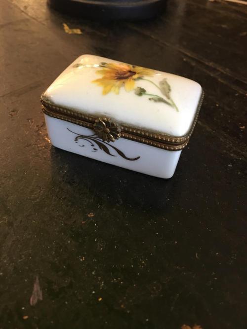 limoges sunflower trinket box