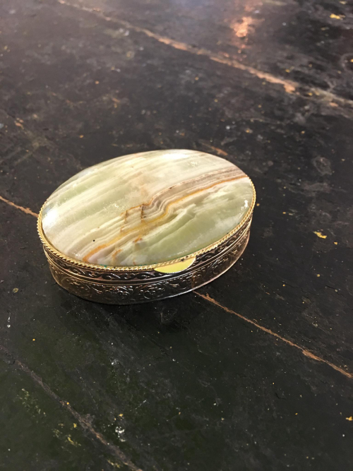 Small Gold Plated Enamel Top Box