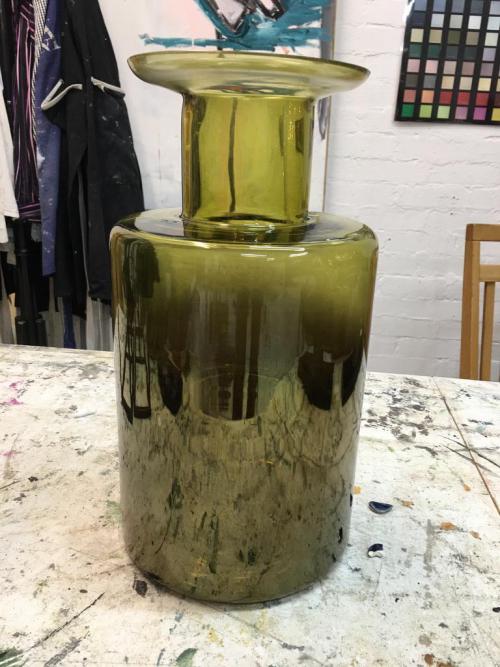 Short Olive Green Bottle Vase