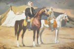 OIL ON CANVAS PAINTINGS DEPICTS TWO ARABIAN RIDERS BY AHMAD KADHIM, IRAQ, 20TH CENTURY
