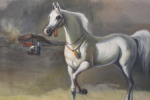 OIL ON CANVAS PAINTINGS DEPICTS WHITE ARABIAN HORSE IN THE DESERT, IRAQ, 20TH CENTURY