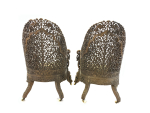 PAIR OF CARVED HARDWOOD ANGLO INDIAN ARM CHAIRS FROM THE BOMBAY PRESIDENCY, 19TH CENTURY