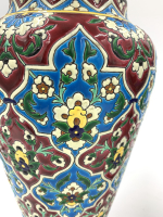FRENCH ENAMELLED FAIENCE PAIR OF VASES BY JULES VIEILLARD