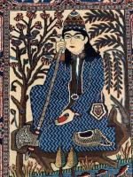 Mohtasham Kashan Small Rug Depicting seated darvesh possibly Noor Ali Shah