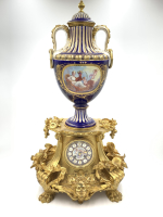 19th Century French Sevres Style Porcelain Clock Set
