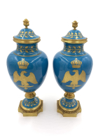 PAIR OF 19TH CENTURY FRENCH SEVRES STYLE SKY BLUE VASES