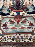 Antique Pictorial Kerman Raver Rug