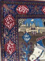 ANTIQUE PERSIAN MOHTASHEM KASHAN PICTORIAL RUG DEPICTING KING AHMAD SHAH QAJAR