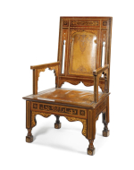 FOUR OTTOMAN PARQUETRY AND MOTHER OF PEARL INLAID ARMCHAIRS, SYRIA, CIRCA 1900