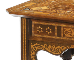 OTTOMAN PARQUETRY AND MOTHER OF PEARL INLAID SIDE TABLE, SYRIA, CIRCA 1900
