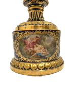ROYAL VIENNA PORCELAIN COVERED URN ON STAND CIRCA 1900