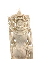 LARGE ANTIQUE DEEPLY CARVED INDIAN IVORY GOD FIGURE SARASWATI