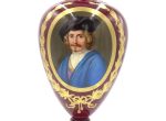REMBRANDT VAN RIJN PORTRAIT ON OLD VIENNA PORCELAIN VASE, 19TH CENTURY