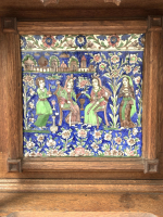 QAJAR TILE IN A WOODEN FRAME, PERSIA, 19TH CENTURY