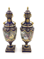 19th century pair of bejewelled sevres style vases