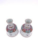 PAIR OF ANTIQUE CHINESE FAMILLE ROSE CANDLESTICK, CHINA, 18TH CENTURY