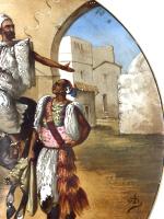 PORCELAIN PLATE DEPICTS ARAB HORSEMAN, FRANCE, 19TH CENTURY